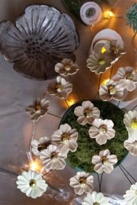 Hvide blomster m. guld